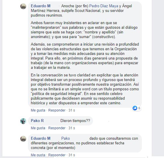 Fragmento de la conversación en Facebook con el JSN Pedro Díaz.