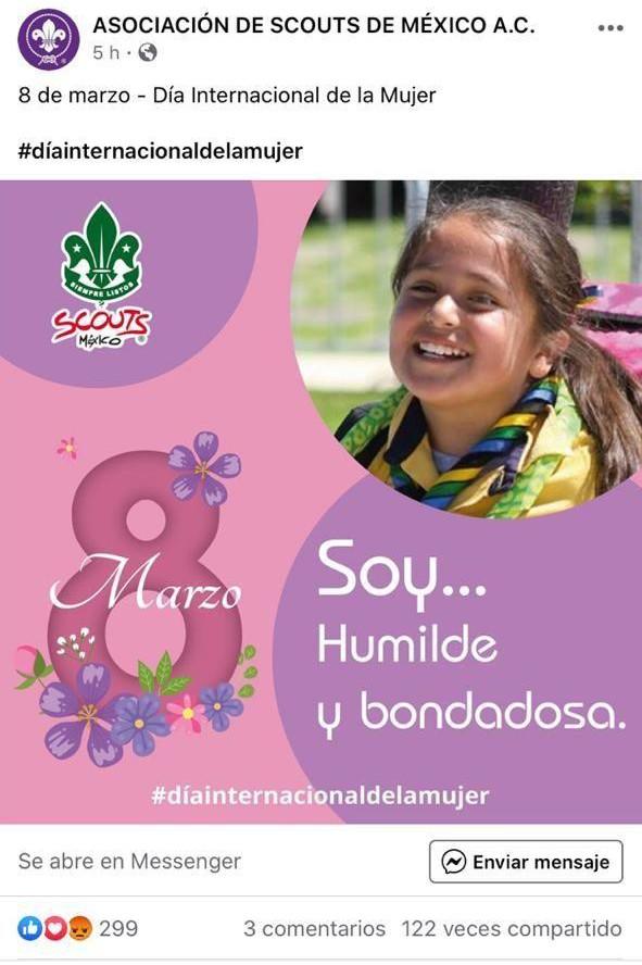 Publicación sexista realizada el 8 de marzo (Día Internacional de la Mujer) de 2020 por la ASMAC.