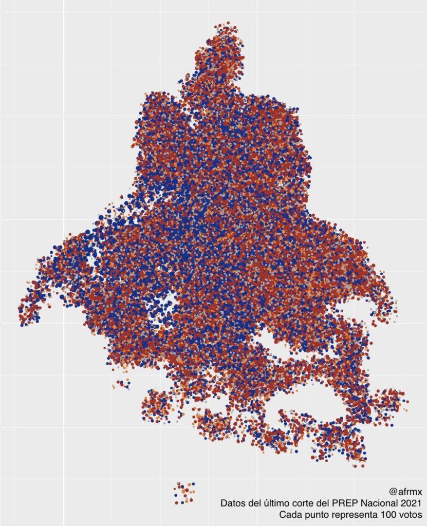 Mapa que muestra la distribución del voto por fuerza política en la CDMX.