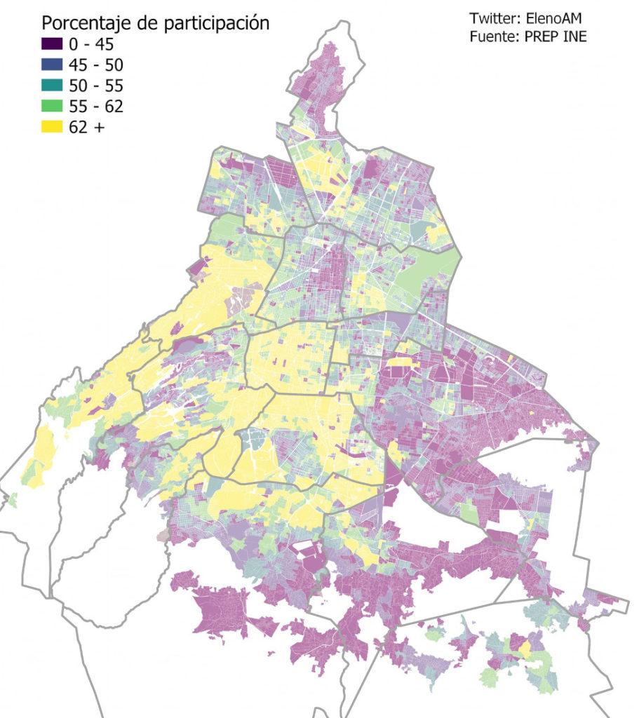 Mapa que muestra el procentaje de participación electoral en la CDMX